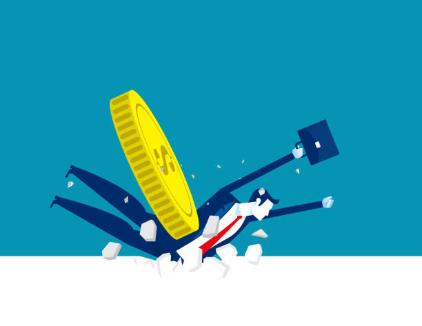 Money fell on the business person. Financial crisis concept vector art illustration
