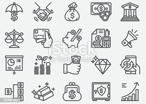 Money Finance Business Line Icons