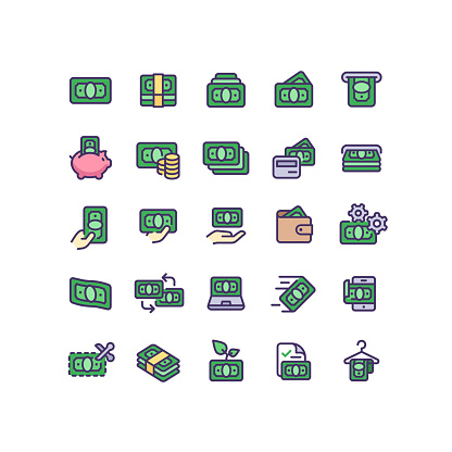 Money & Finance Flat Outline Icons