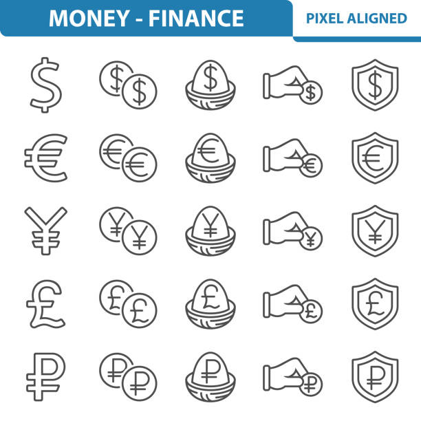 Money - Finance Icons Professional, pixel perfect icons, EPS 10 format. yuan symbol stock illustrations