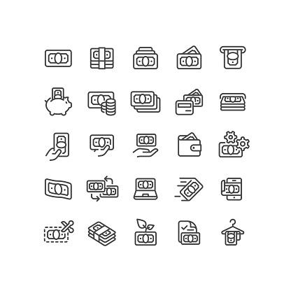 Money & Finance Line Icons Editable Stroke