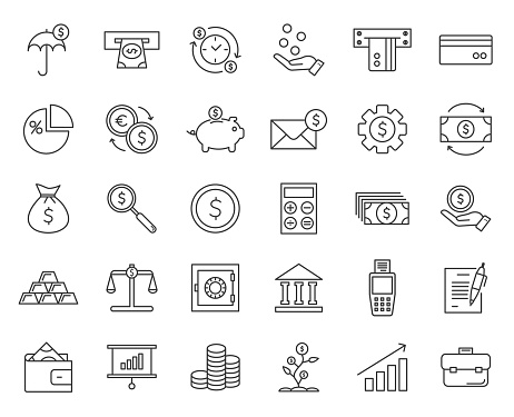 Money, finance, payments set of web icons in thin line style. Simple collection of financial icons:  money bag, coins, credit card, wallet and more. Vector illustration