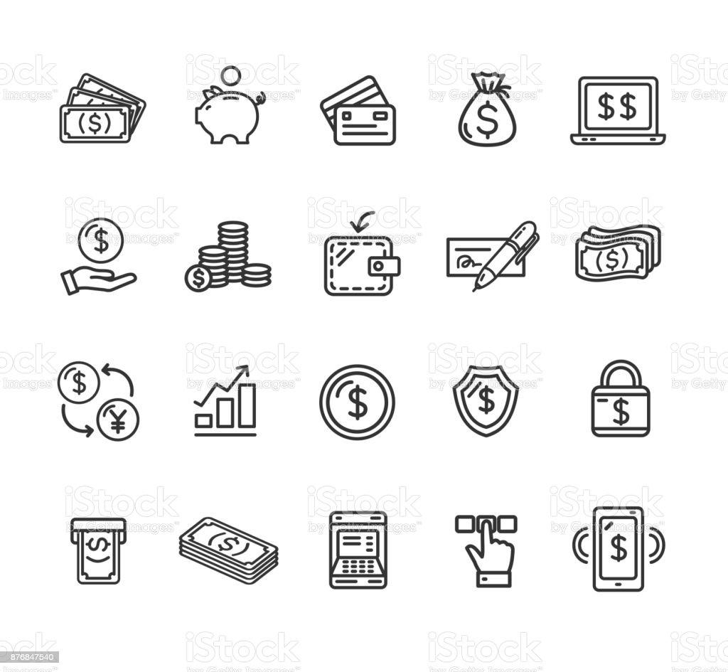 Sinais e símbolos de finanças dinheiro conjunto de ícones de linha fina preta. Vector - Vetor de Aplicação móvel royalty-free
