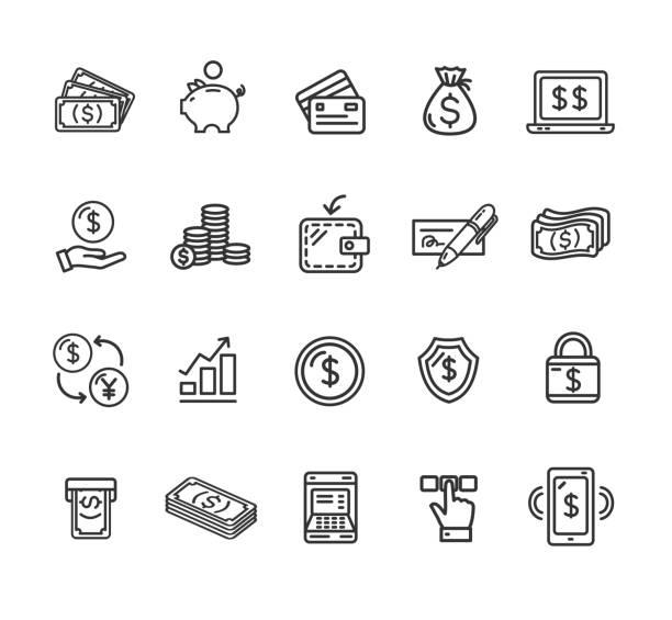貨幣金融符號和標誌黑色細線圖示集。向量 - money 幅插畫檔、美工圖案、卡通及圖標