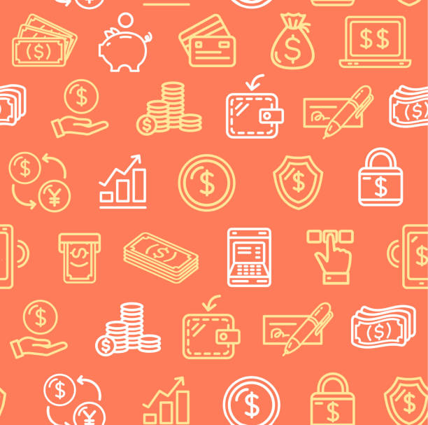 Money Finance Symbols and Signs Pattern Background on a Red. Vector Money Finance Symbols and Signs Pattern Background on a Red for Web and App Include of Exchange, Wallet and Atm. Vector illustration banking backgrounds stock illustrations