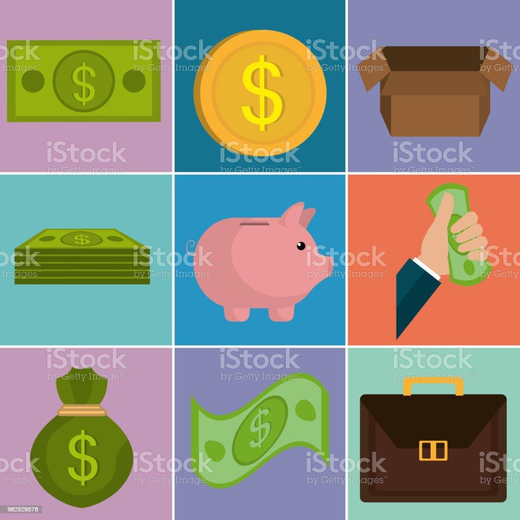 dinheiro financia conjunto de ícones - Vetor de Antiguidades royalty-free