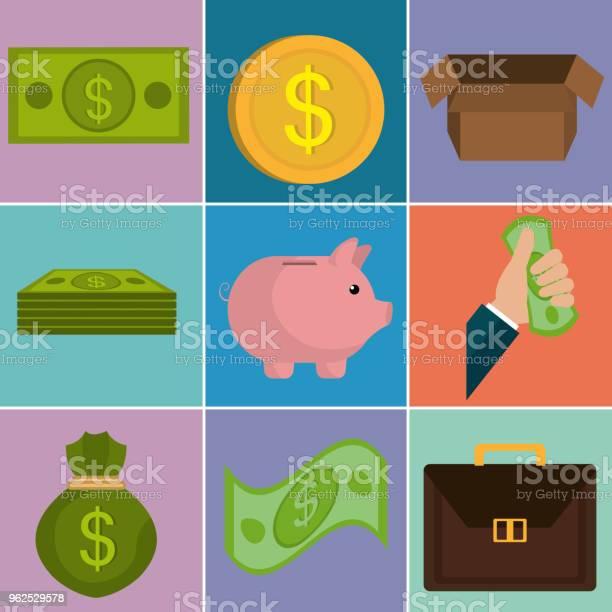 Vetores de Dinheiro Financia Conjunto De Ícones e mais imagens de Antiguidades
