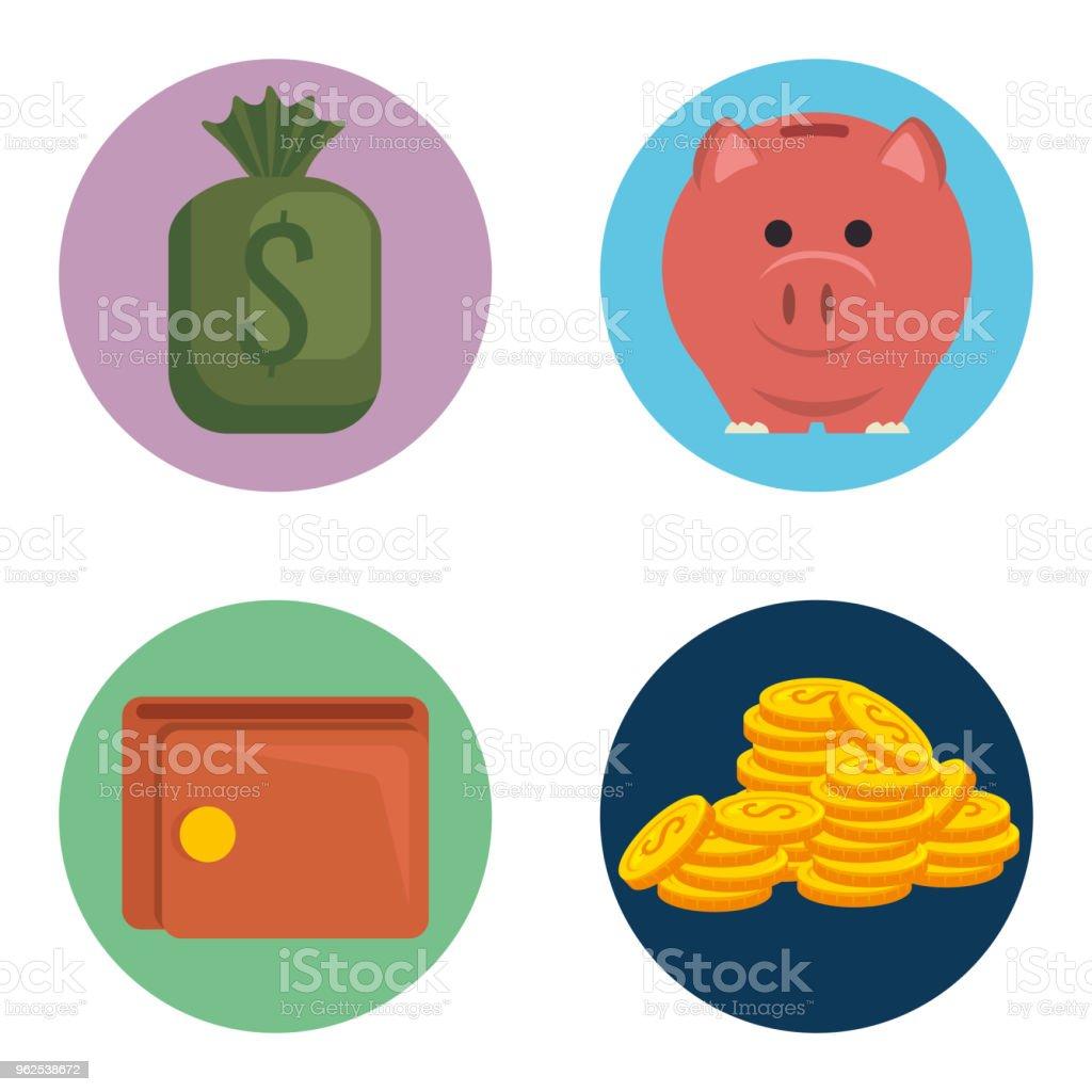 ícones de ajuste financeiro dinheiro - Vetor de Antiguidades royalty-free