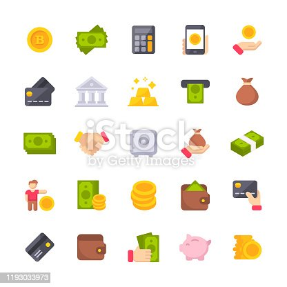 25 Money Flat Icons.