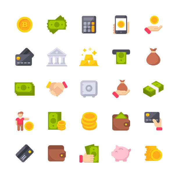 Money Flat Icons. Material Design Icons. Pixel Perfect. For Mobile and Web. Contains such icons as Isometric Money, Dollar Bill, Credit Card, Banking, Wallet, Coins, Money Bag, Currency Exchange, Coin, Bitcoin, Cryptocurrency. 25 Money Flat Icons. exchange rate stock illustrations