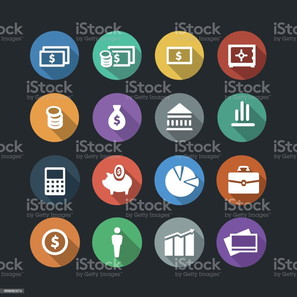 Money Flat Icons vector art illustration