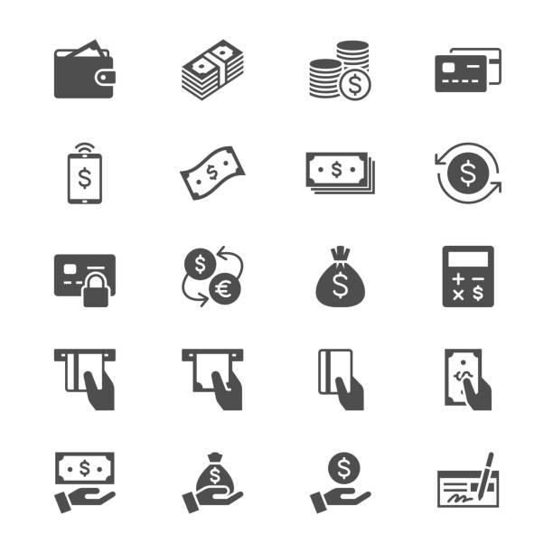 Geld flach Symbole – Vektorgrafik