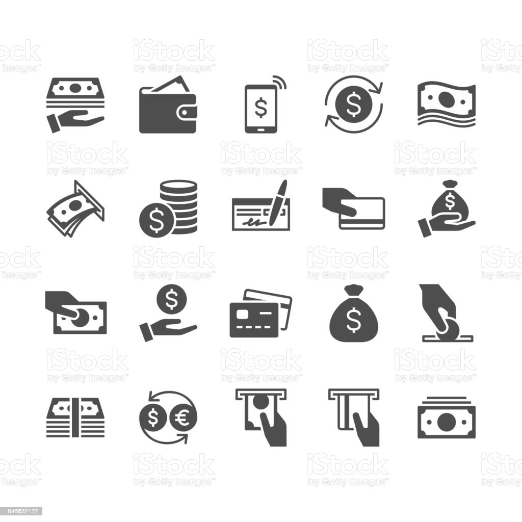 Money flat icons. Simple vector flat Icons. Pixel perfect. ATM stock vector