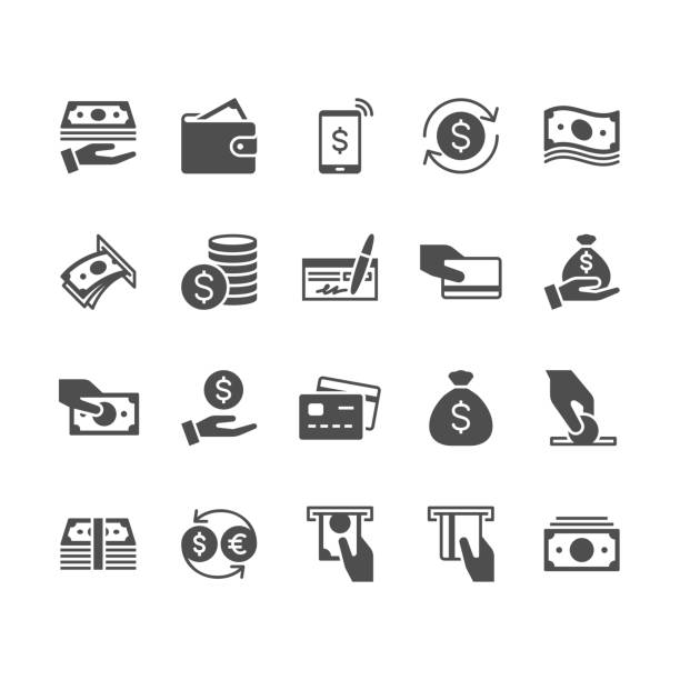 Money flat icons. Simple vector flat Icons. Pixel perfect. wallet stock illustrations