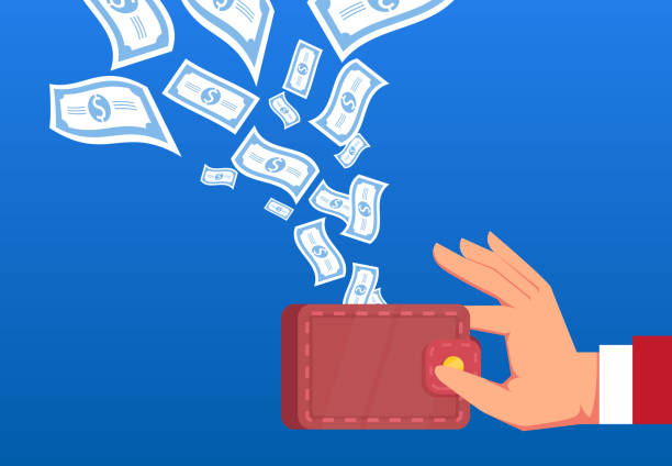 money flies into the wallet held in the hands of businessmen - spending money stock illustrations