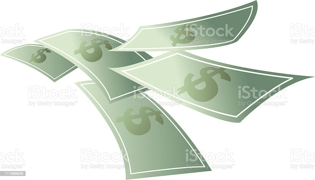 Money floating, dollars flying royalty-free stock vector art