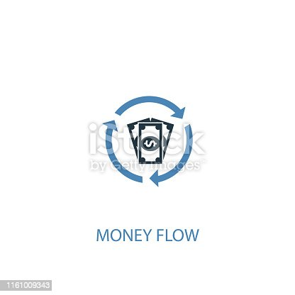 money flow concept 2 colored icon. Simple blue element illustration. money flow concept symbol design. Can be used for web and mobile UI/UX