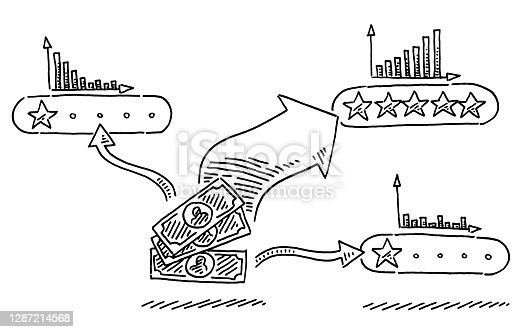 istock Money Flow Diagram Star Rating Concept Drawing 1287214568