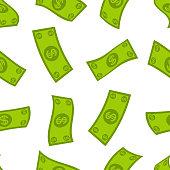 Money flow seamless pattern. Falling dollars background. Cash flying rain.