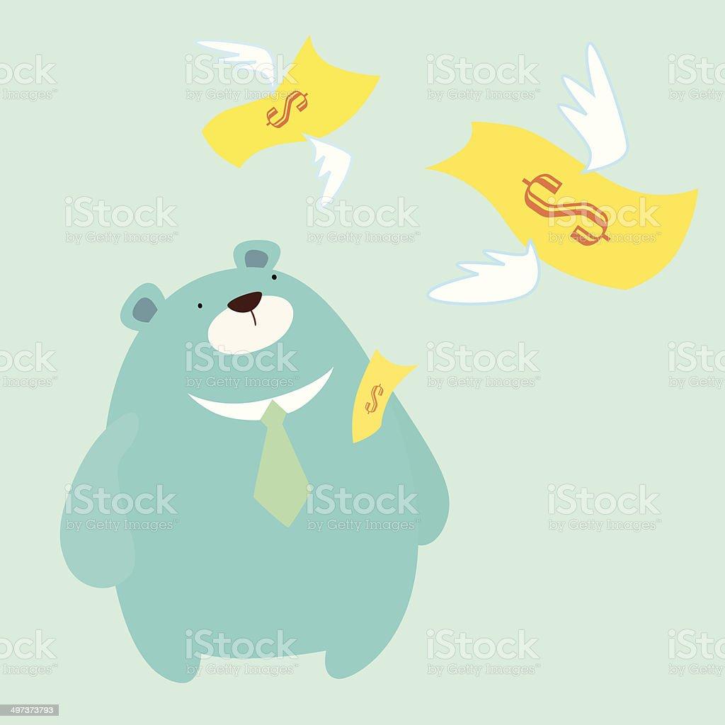 Money fly away from Mr.Bear vector art illustration