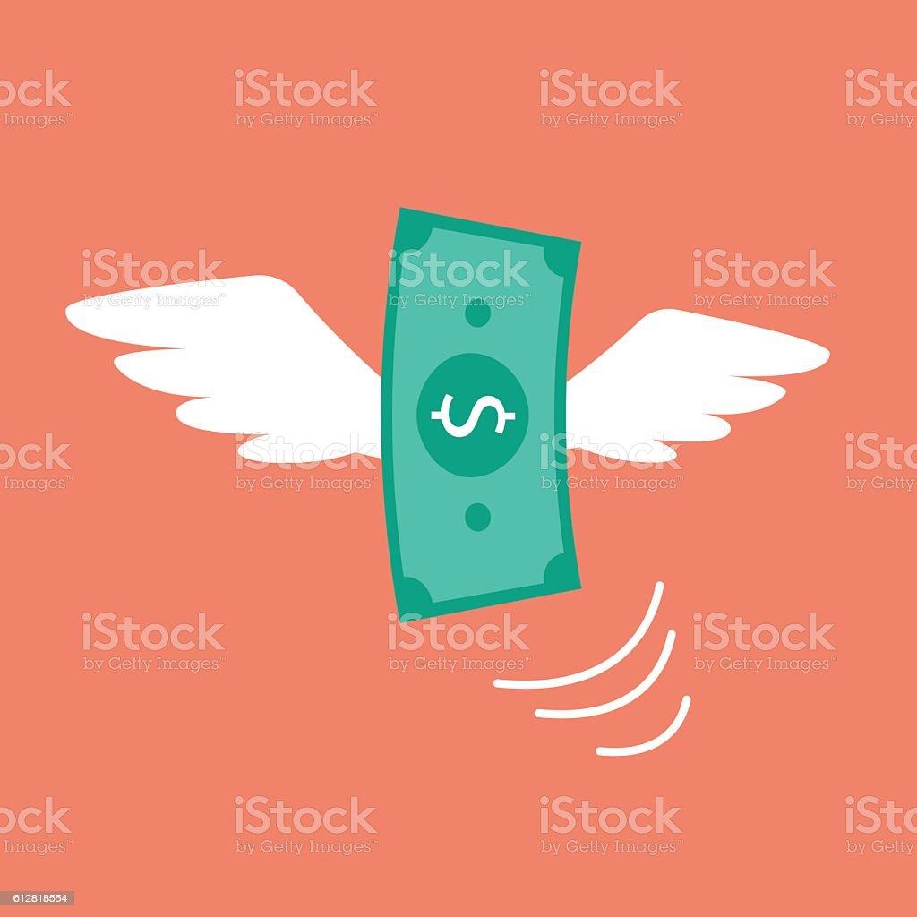 Money flying like a bird vector art illustration
