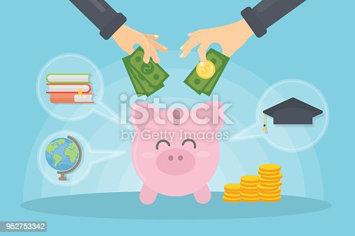 Money for education. People put money in piggy bank.