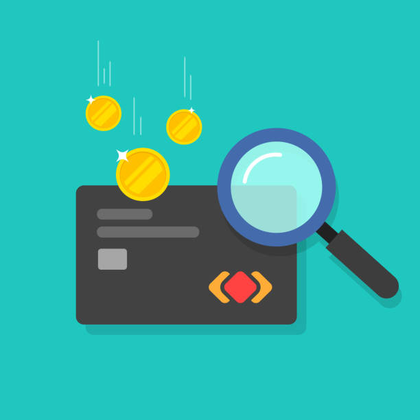 Money fraud verification vector icon, flat cartoon electronic money in debit card investigation via magnifier, suspicious cash analyzing control or check, concept of financial authentication research vector art illustration