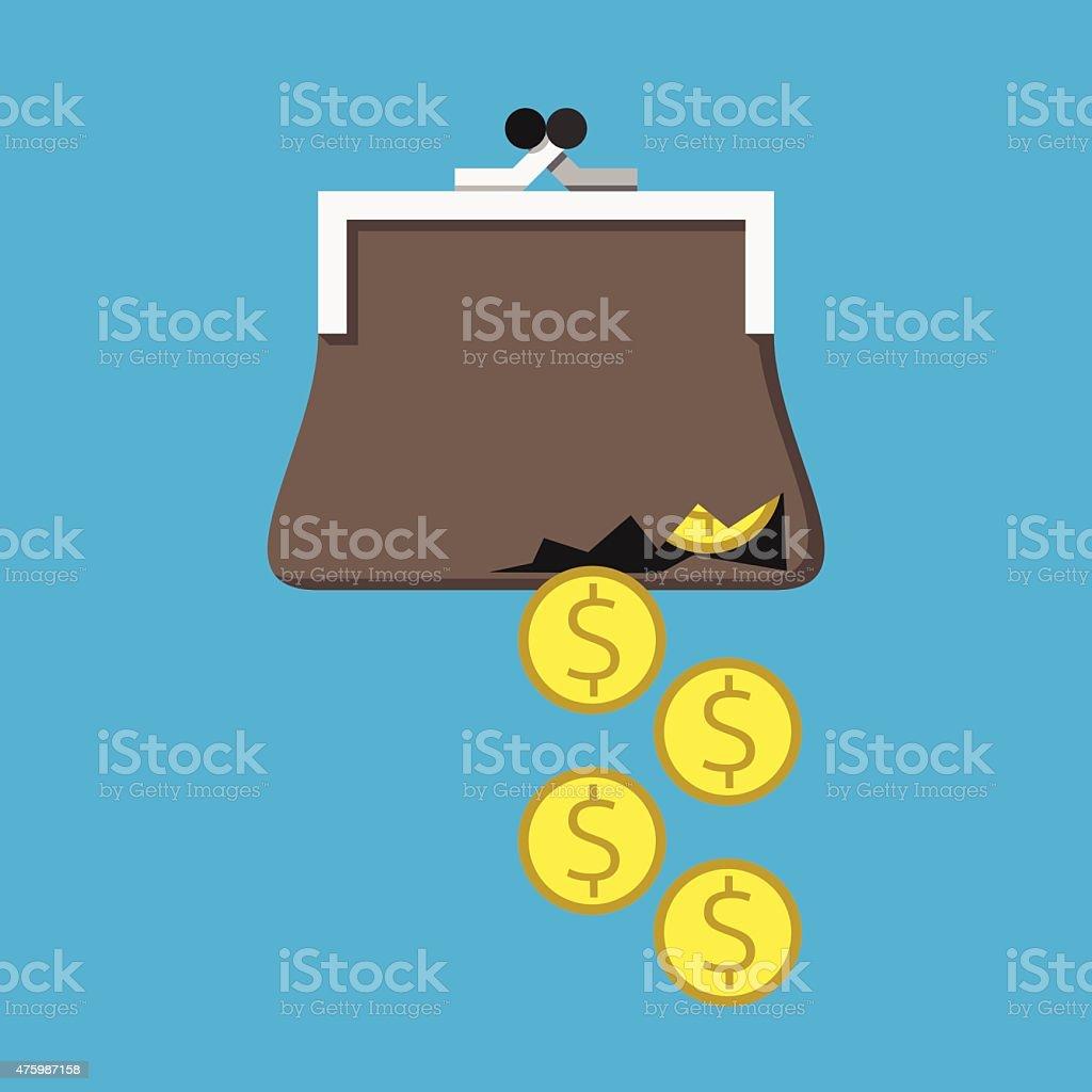 Money from torn purse vector art illustration