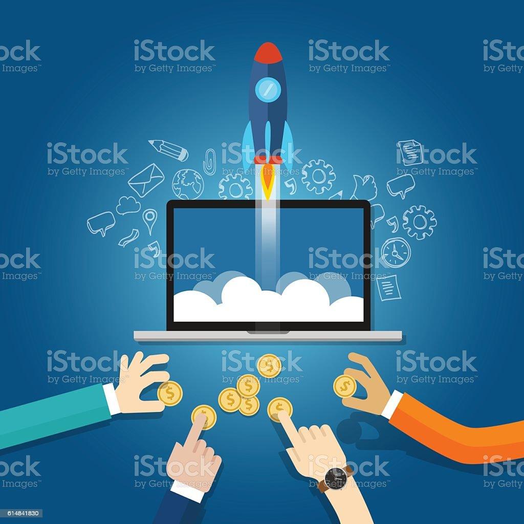 money funding startup financial technology fin-tech vector art illustration
