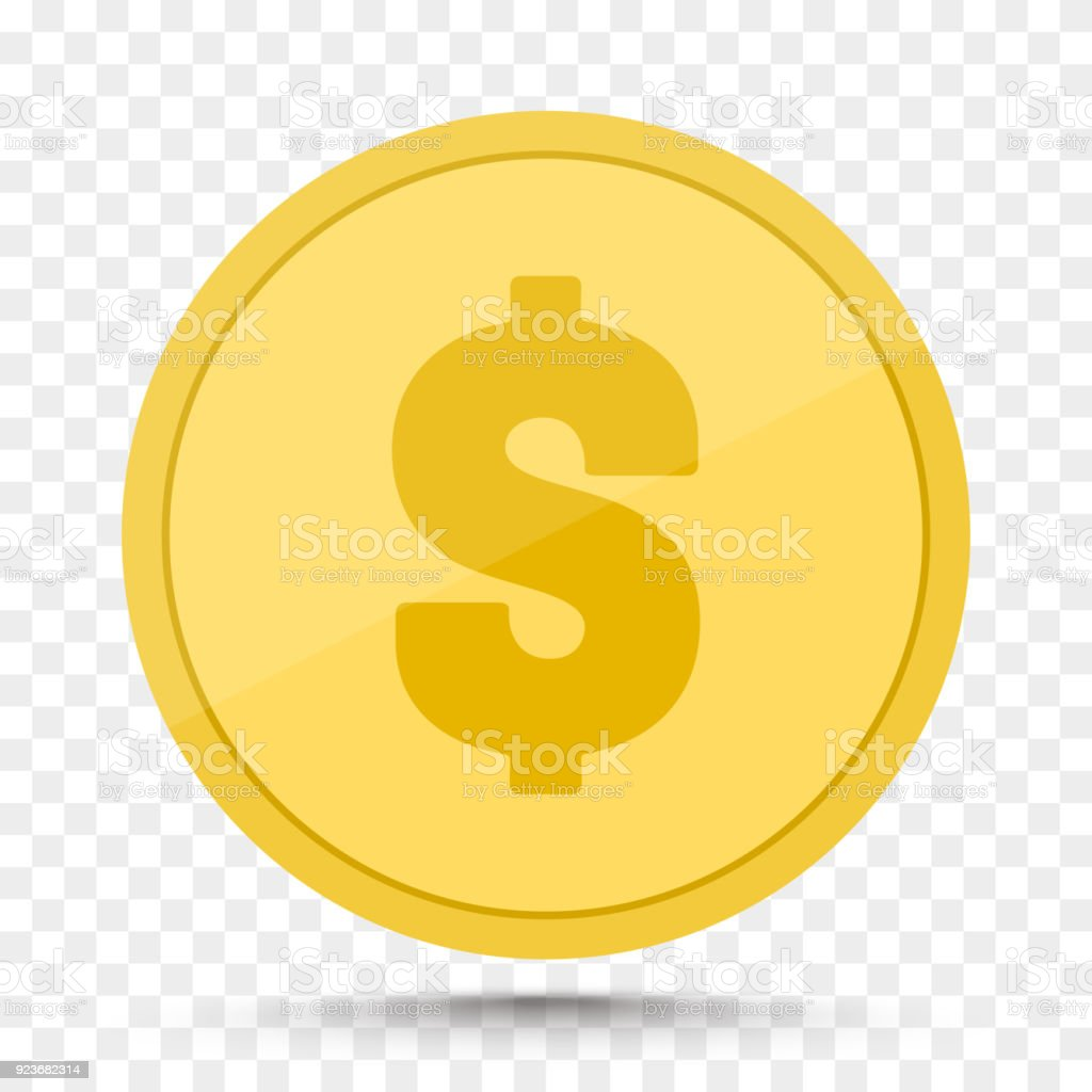 Money Golden Coin Isolated On Transparent Background Royalty Free