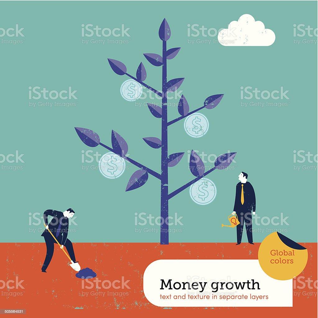 Money growing on a tree vector art illustration