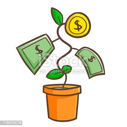 Cute and funny money grows from a plant pot