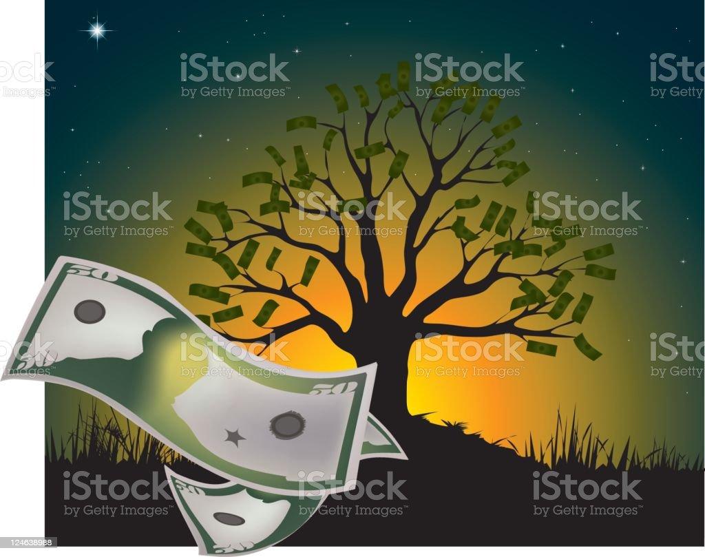 Money Grows on Tree vector art illustration