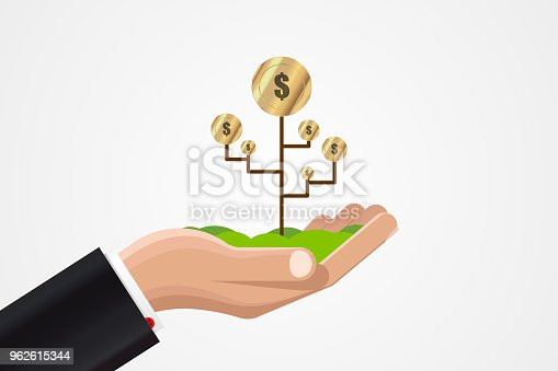 Money growth in businessman hand. Business concept. Vector illustration