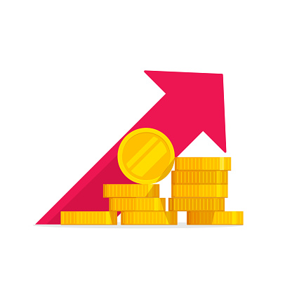 Money Growth Vector Illustration Flat Golden Coins Pile With Revenue Graph Concept Of Income Increase Or Earnings Financial Boost Chart Success Capital Investment Cash Budget Isolated - Arte vetorial de stock e mais imagens de Amontoar