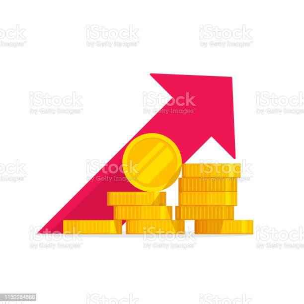 Money Growth Vector Illustration Flat Golden Coins Pile With Revenue Graph Concept Of Income Increase Or Earnings Financial Boost Chart Success Capital Investment Cash Budget Isolated Stock Illustration - Download Image Now
