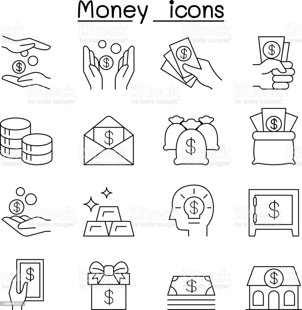 Money & Hand, investment, asset, cash, profit, financial icons set in thin line style vector art illustration