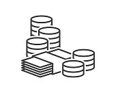 istock Money icon. A simple image of a bundle of paper money and coins. Linear drawing. Isolated vector on a pure white background. 1303874153