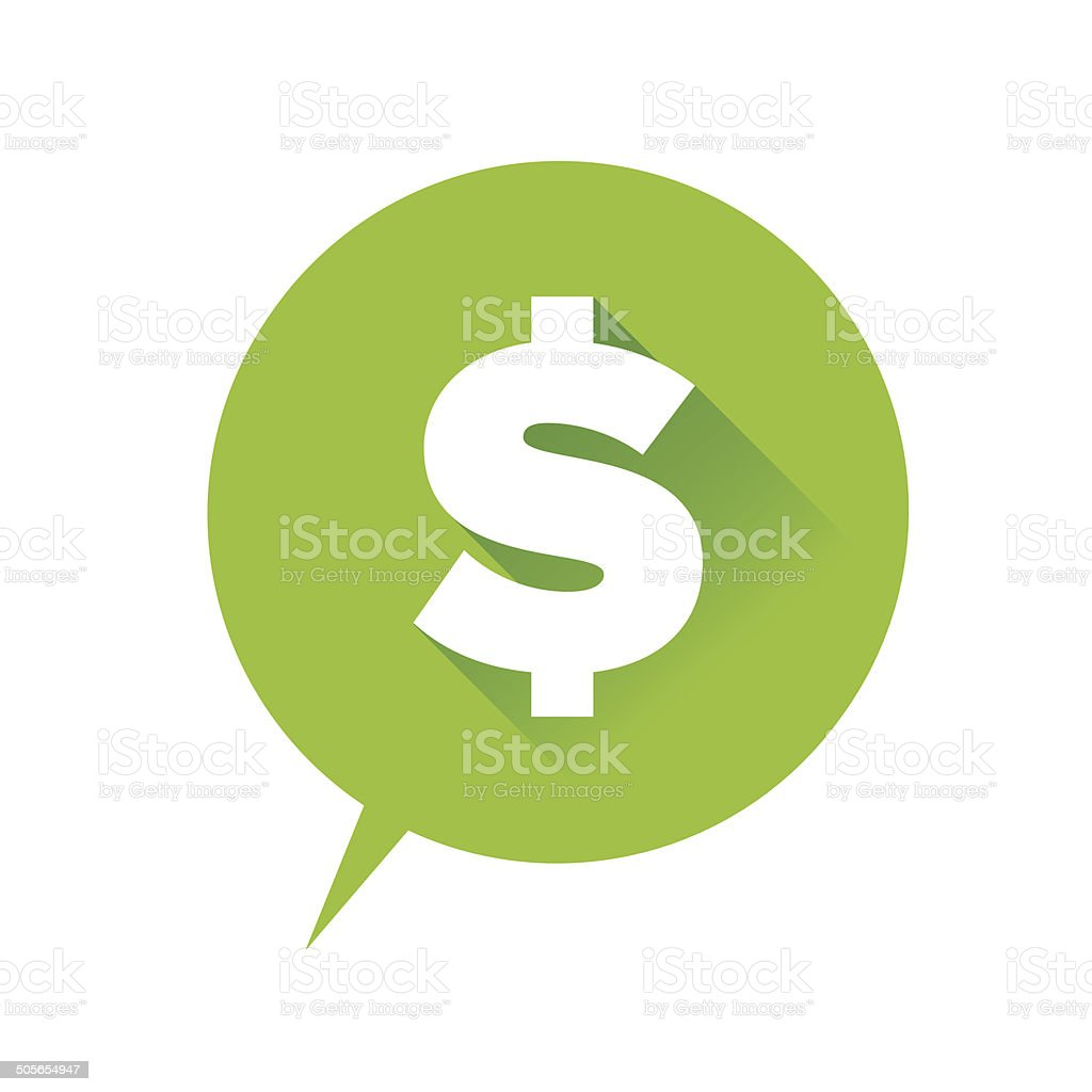 Money icon - dollar sign green vector art illustration
