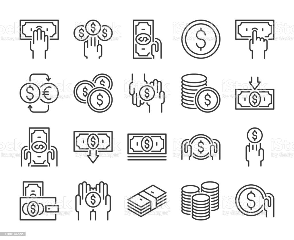 Money icon. Money and finance line icons set. Editable stroke. Pixel Perfect. Money icon. Money and finance line icons set. Editable stroke. Pixel Perfect Banking stock vector