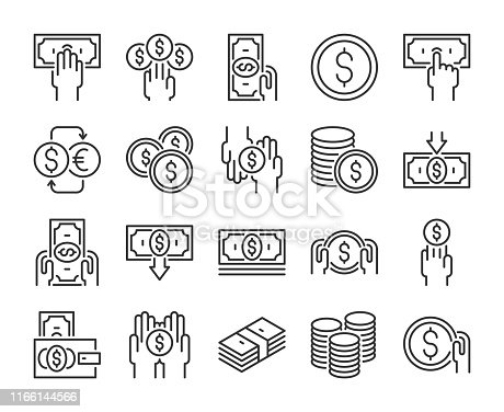 Money icon. Money and finance line icons set. Editable stroke. Pixel Perfect