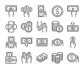 Money icon. Money and finance line icons set. Editable stroke. Pixel Perfect.
