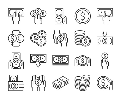 Money Icon Money And Finance Line Icons Set Editable Stroke Pixel Perfect Stock Illustration - Download Image Now