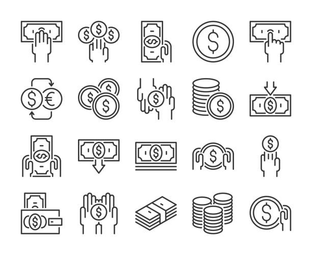 money icon. money and finance line icons set. editable stroke. pixel perfect. - banknot stock illustrations