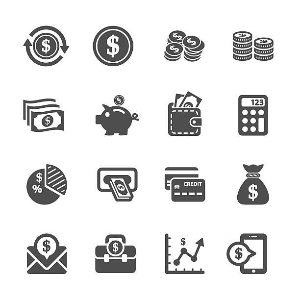 stockillustraties, clipart, cartoons en iconen met money icon set, vector eps10 - financieel item