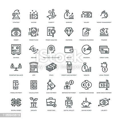 36 Money Icons - Line Series
