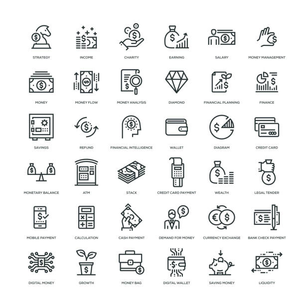 Money Icon Set 36 Money Icons - Line Series wages stock illustrations