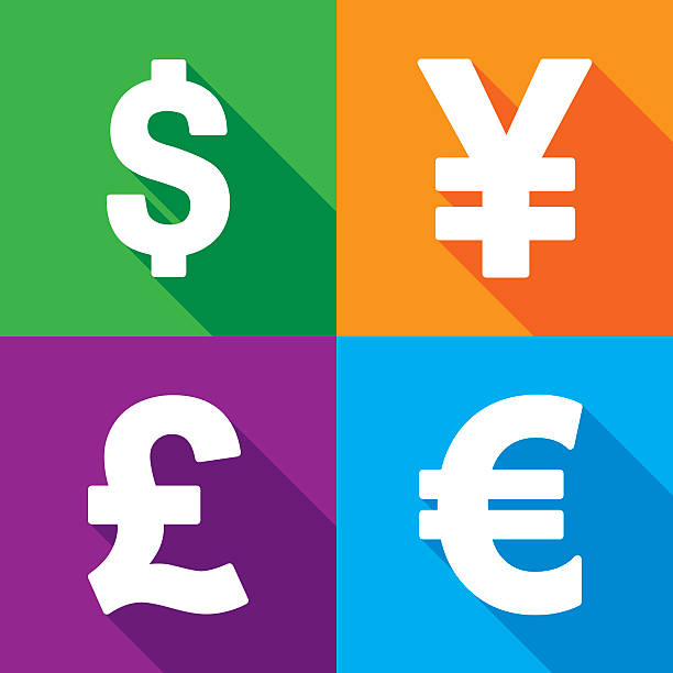 Money Icon Set Vector illustration of dollar, yen, pound and euro icons in flat style. japanese currency stock illustrations