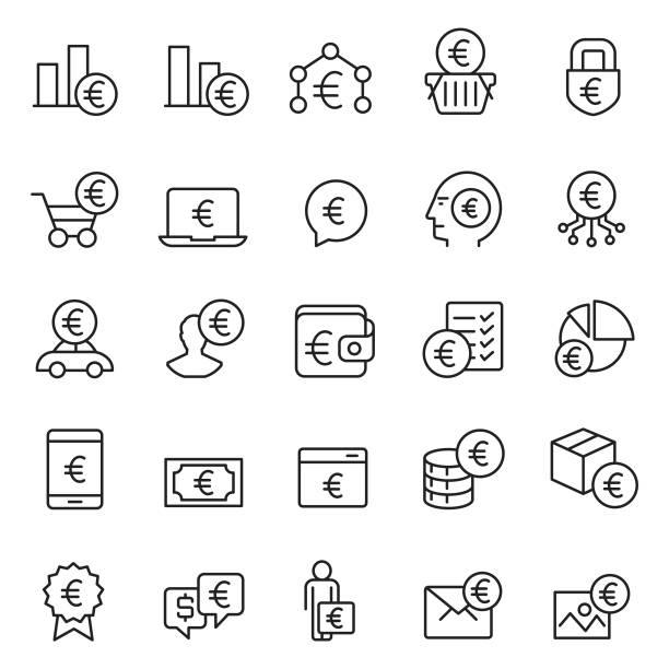 Money icon set Money icon set european union currency stock illustrations