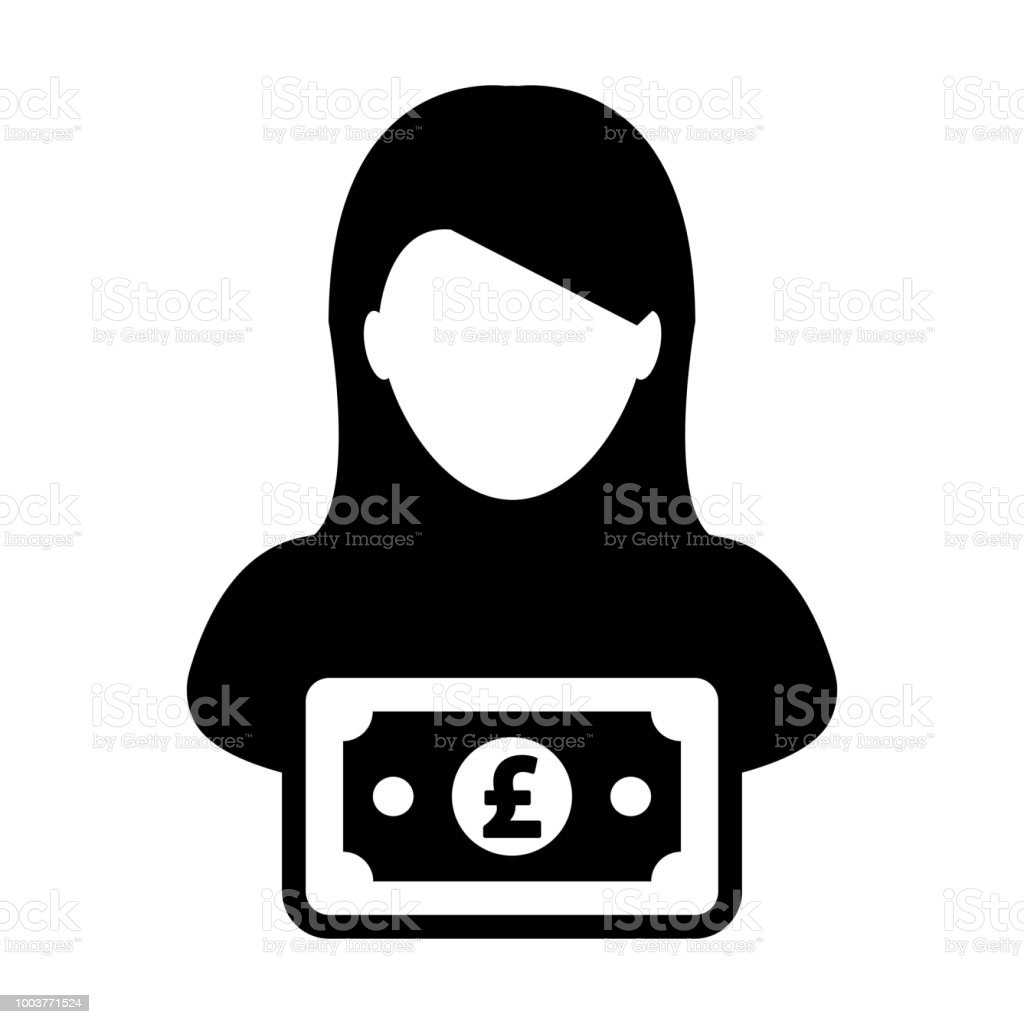 Money Icon Vector Female User Person Profile Avatar With Pound Sign